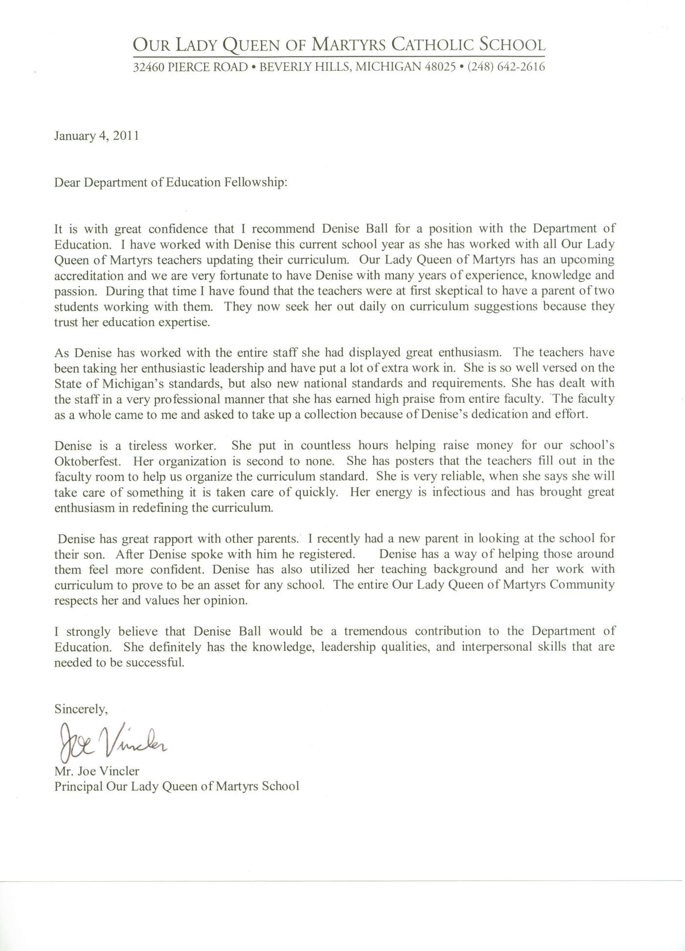 Letter Of Recommendation For Denise Ball Unlocktheteacher